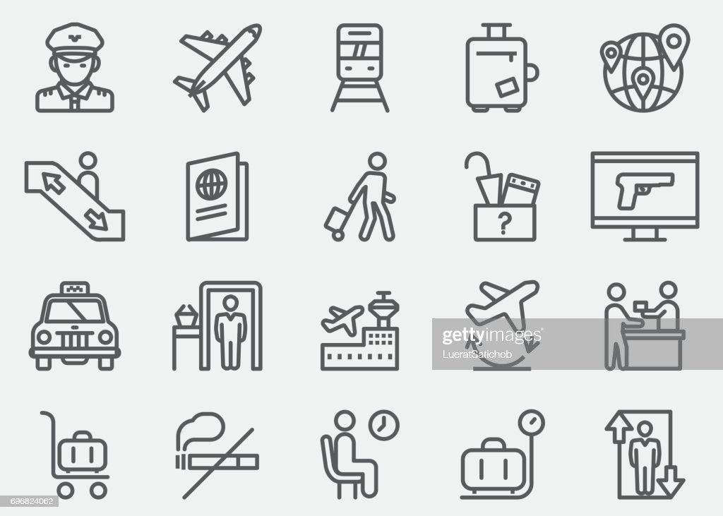Los iconos de línea aeropuerto | EPS 10 : Ilustración de stock