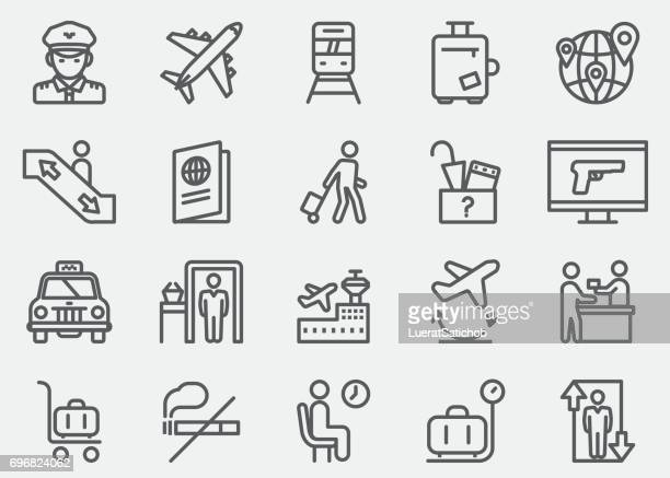 airport line icons | eps 10 - arrival stock illustrations