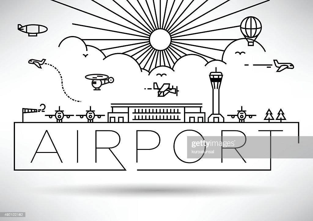 Airport Linear Vector Illustration