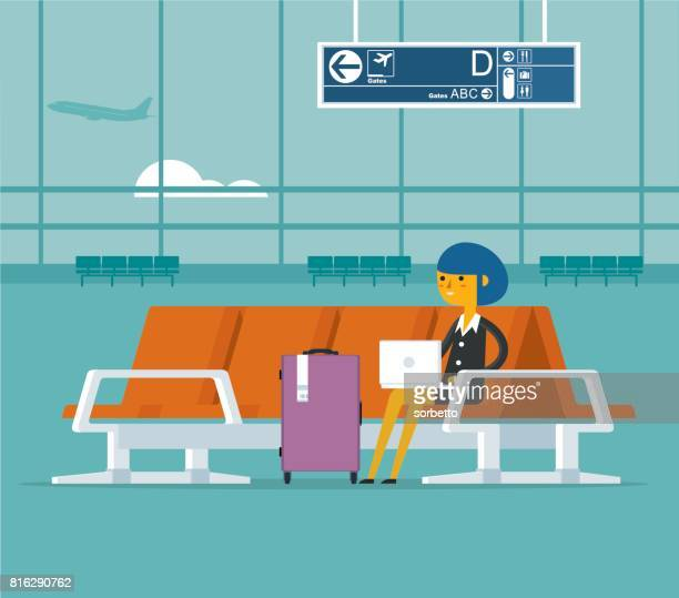 airport lounge - businesswoman - entrance hall stock illustrations, clip art, cartoons, & icons