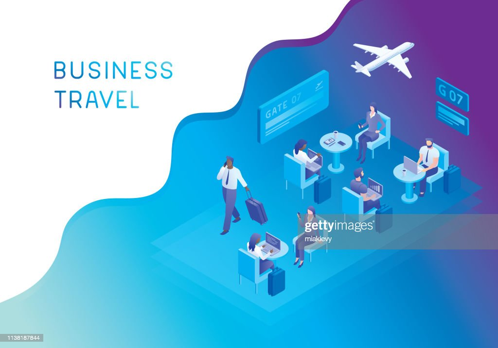 Airport lounge for business travellers : stock illustration