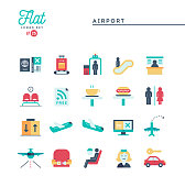 Airport, luggage scanning, flight, rent a car and more, flat icons set