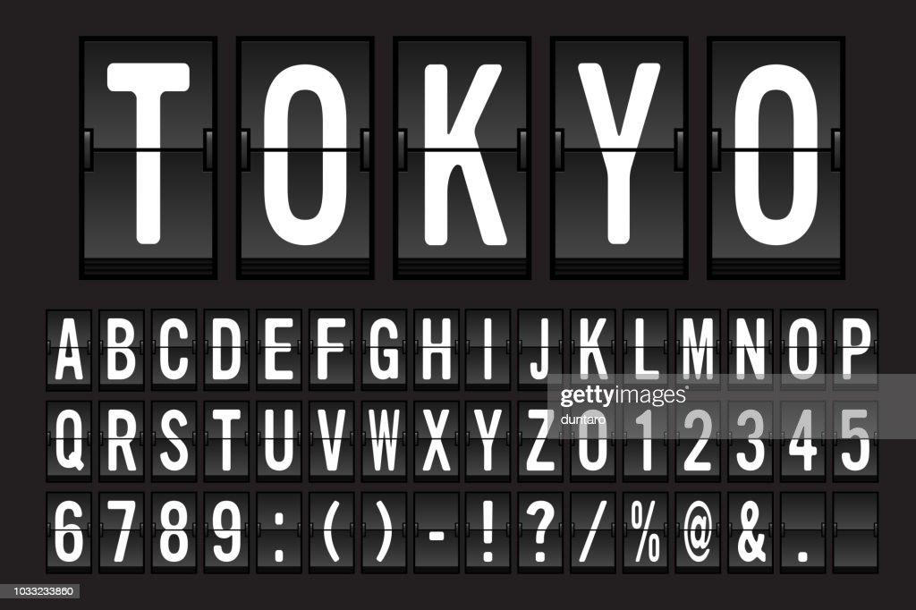 Airport Mechanical Flip Board Panel Font Vector Illustration