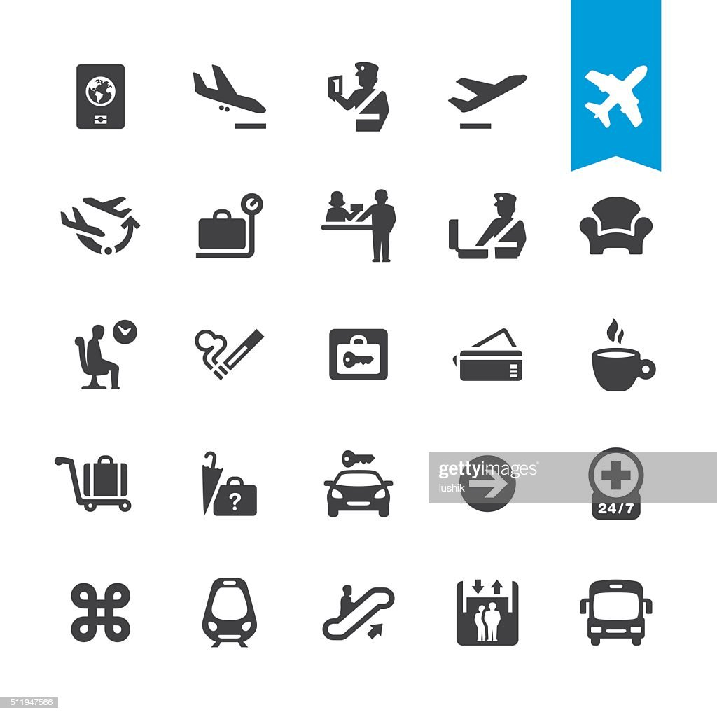 Airport navigation vector icons : stock illustration