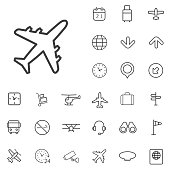 airport outline, thin, flat, digital icon set