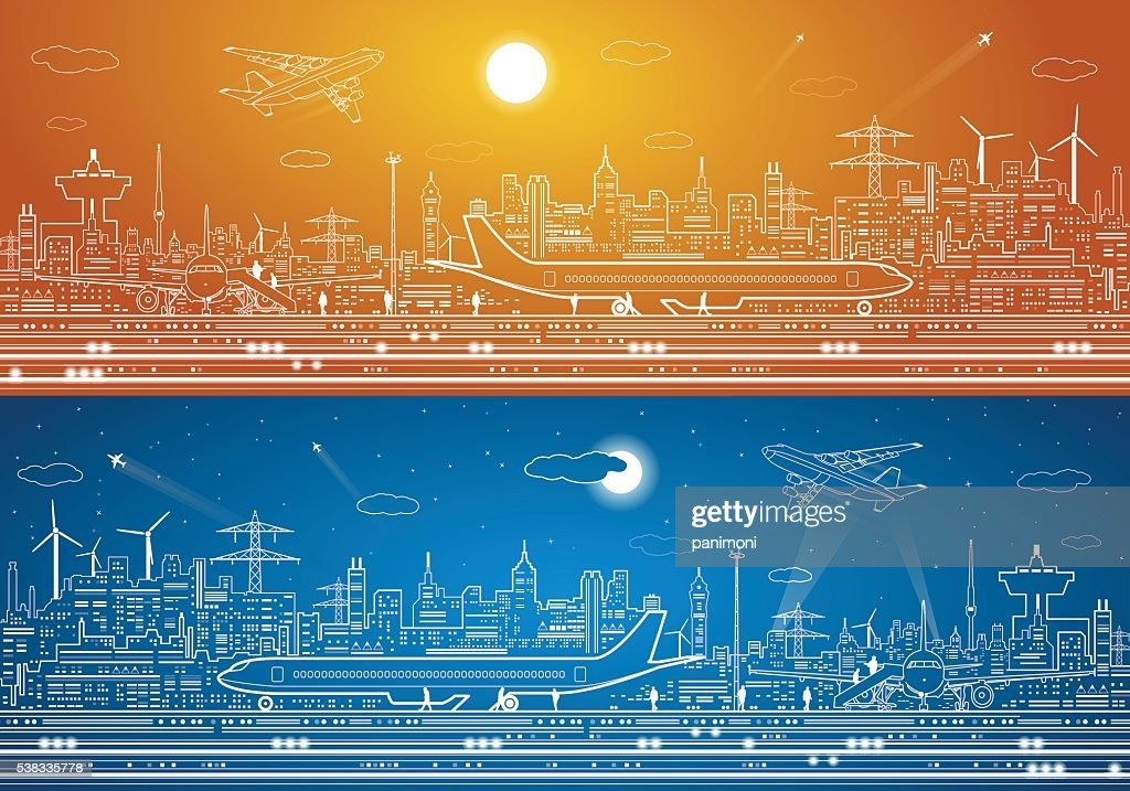 Airport panorama, aircraft on runway, airplane takeoff, city infrastructure on background,