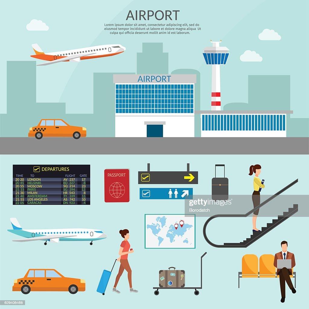 Airport passenger terminal waiting room. International arrival departures background vector
