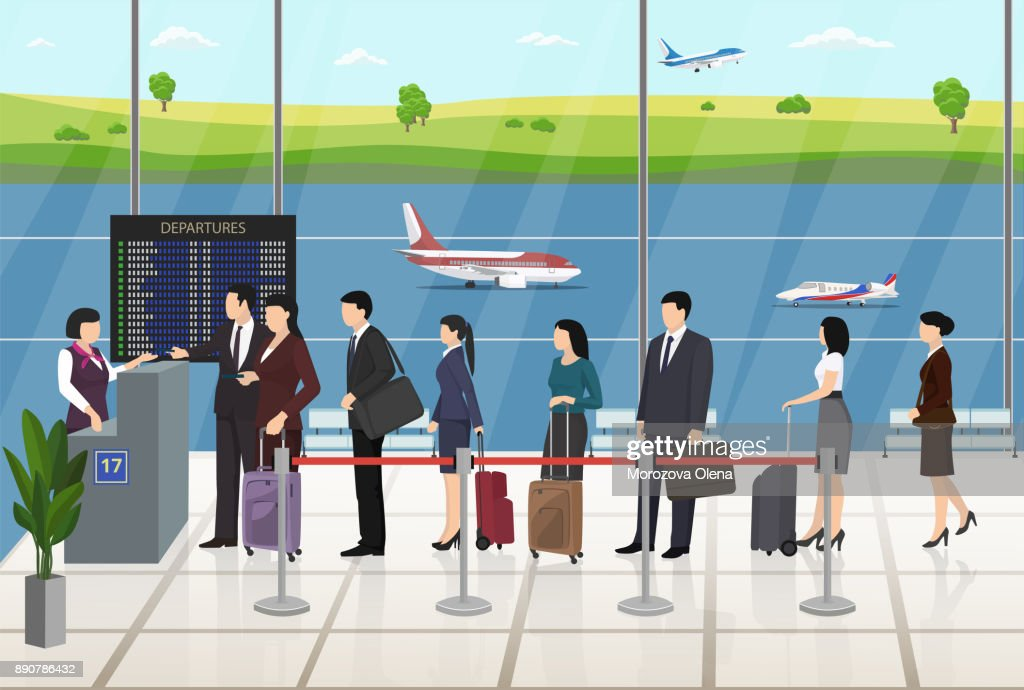 Airport Passengers Registration Waiting in line