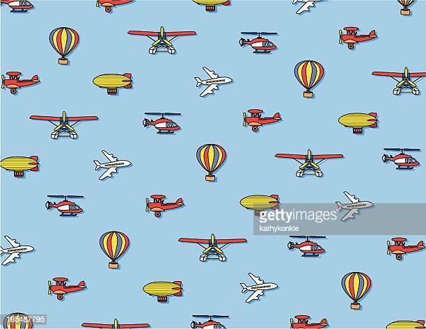 airport pattern - biplane stock illustrations, clip art, cartoons, & icons