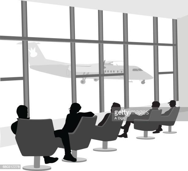 airport people sitting silhouette vector - airport terminal stock illustrations, clip art, cartoons, & icons