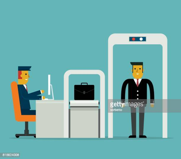 airport security - businessman - front view - inspector stock illustrations, clip art, cartoons, & icons