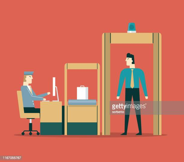 airport security - businessman - security scanner stock illustrations