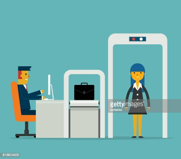 airport security - businesswoman - front view - x ray equipment stock illustrations, clip art, cartoons, & icons