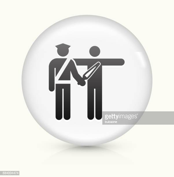 Airport Security Scanning icon on white round vector button
