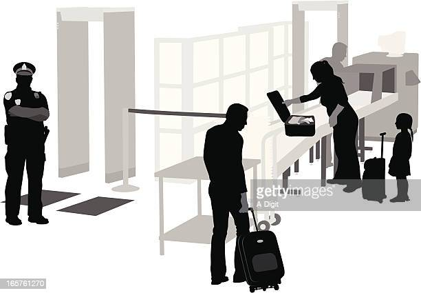 Airport Security Vector Silhouette