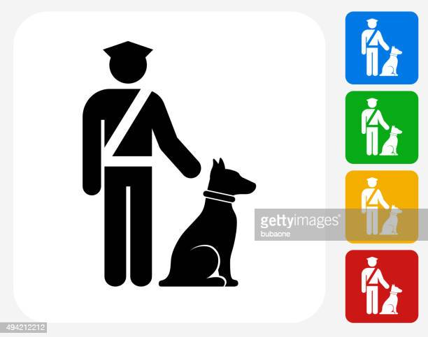 Airport Security wit Dog Icon Flat Graphic Design