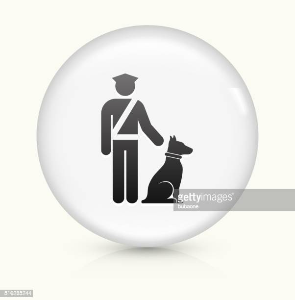 Airport Security wit Dog icon on white round vector button