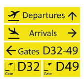 Airport Signs,isolated on white background