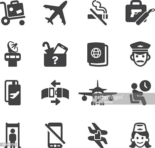 airport silhouette icons 1 | eps10 - aeroplane stock illustrations, clip art, cartoons, & icons