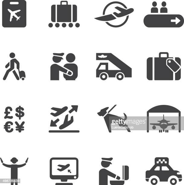 airport silhouette icons 2 | eps10 - disembarking stock illustrations