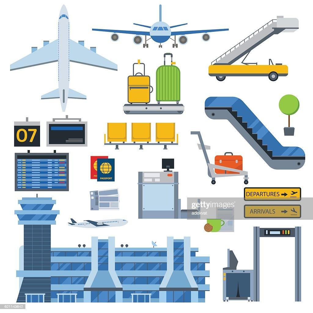 Airport symbols vector set.