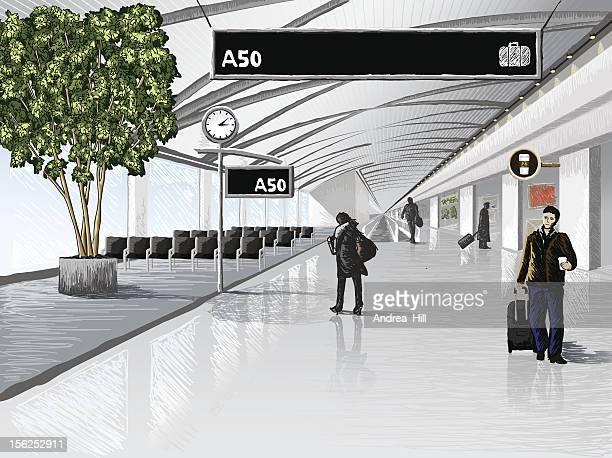 airport terminal - airport terminal stock illustrations, clip art, cartoons, & icons