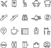 Airport thin line vector icons