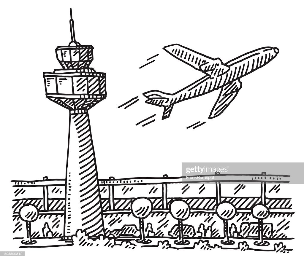 Airport Tower Building Airplane Drawing