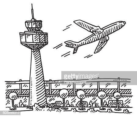 airport tower building airplane drawing vector art getty images