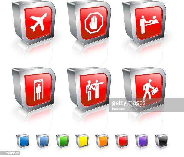 Airport Travel 3D vector icon set with Metal Rim