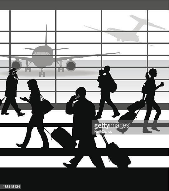 ilustrações de stock, clip art, desenhos animados e ícones de aeroporto viajantes - bebe chegando