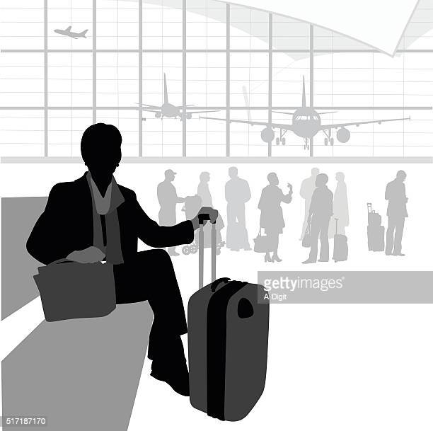airport traveller waiting - airport terminal stock illustrations, clip art, cartoons, & icons