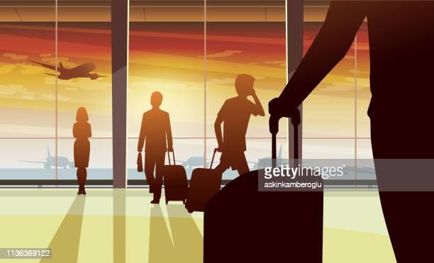 airport - airport terminal stock illustrations, clip art, cartoons, & icons
