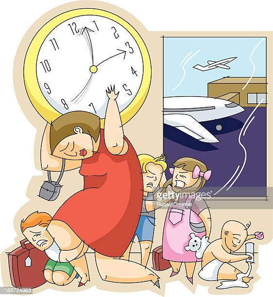 airport waiting - family fighting cartoon stock illustrations