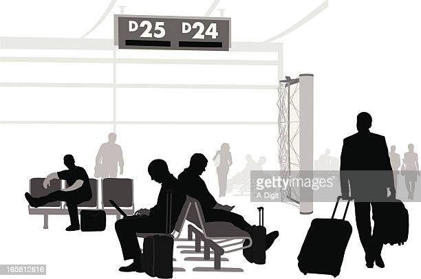 Airport Waits Vector Silhouette