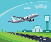 Airport with Runway and flying Plane Concept Illustration