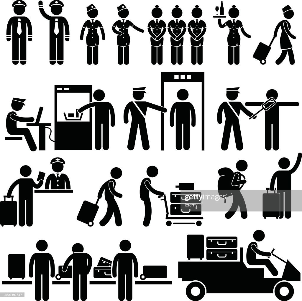 Airport Workers and Security Pictogram