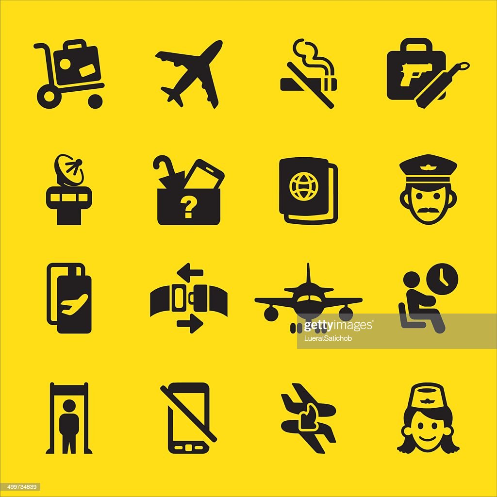Airport Yellow Silhouette icons | EPS10