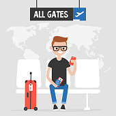 Airport. Young traveller waiting for a flight. Flat editable vector illustration, clip art