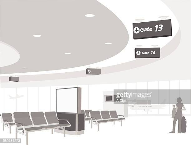 airportgate - airport terminal stock illustrations, clip art, cartoons, & icons