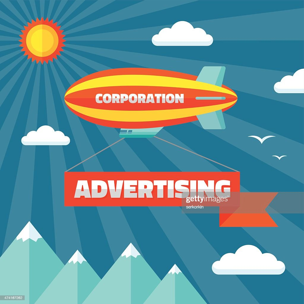 Airpship with advertising banner vector illustration in flat style