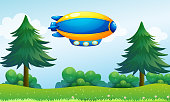 airship near the hilltop
