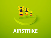 Airstrike isometric icon, isolated on color background