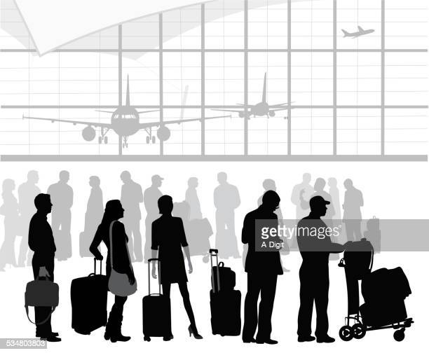 airtravelpatients - airport terminal stock illustrations, clip art, cartoons, & icons