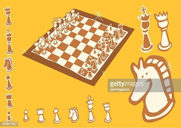 ilustraciones, imágenes clip art, dibujos animados e iconos de stock de ajedrez. tablero y piezas - tablero ajedrez