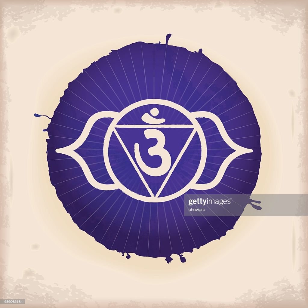 Ajna Vintage Watercolour Chakra Symbol 6 Vector Art Getty Images