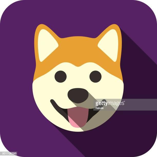 akita animal face icon - japanese language stock illustrations, clip art, cartoons, & icons