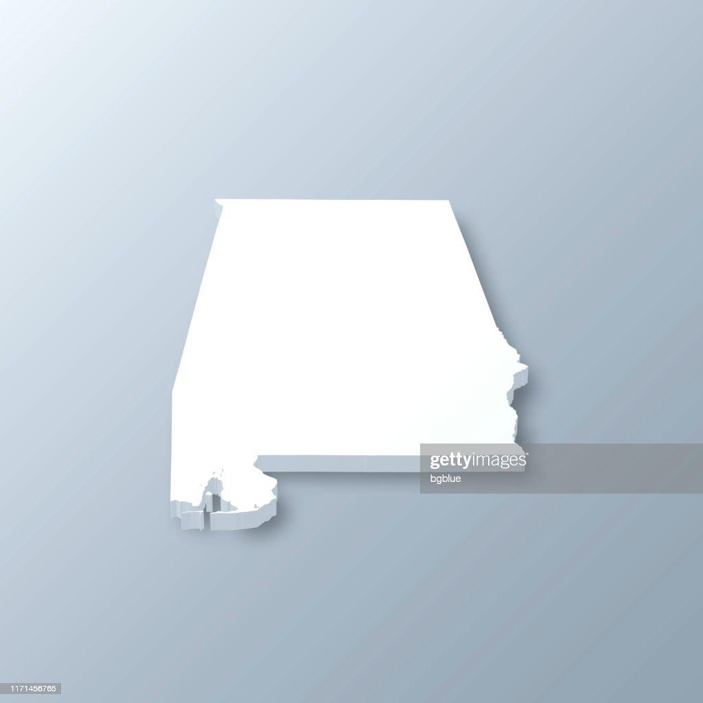 Alabama 3D Map on gray background : stock illustration