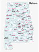 alabama administrative and political map