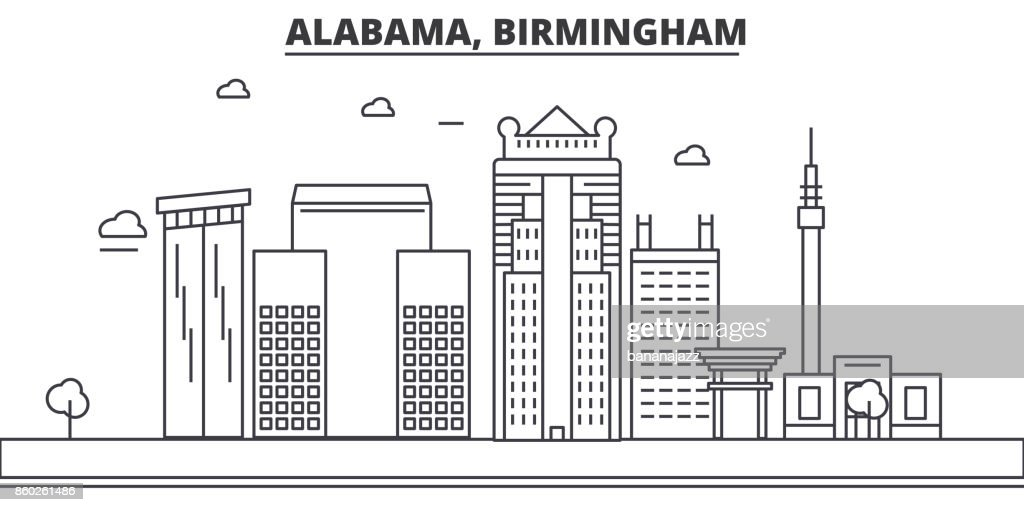 Alabama, Birmingham architecture line skyline illustration. Linear vector cityscape with famous landmarks, city sights, design icons. Landscape wtih editable strokes